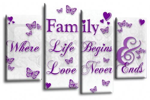 Family Quote Canvas Wall Art Picture Home Print White Purple